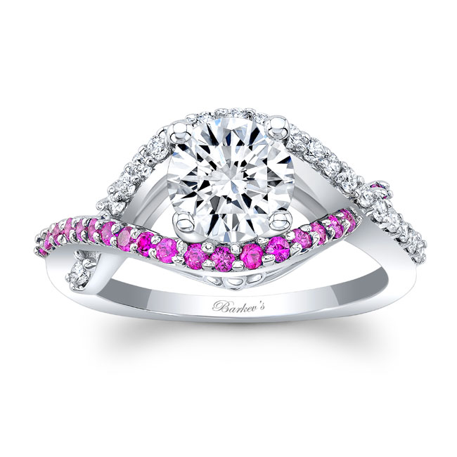 White Gold Engagement Ring With Pink Sapphire 8080LPS