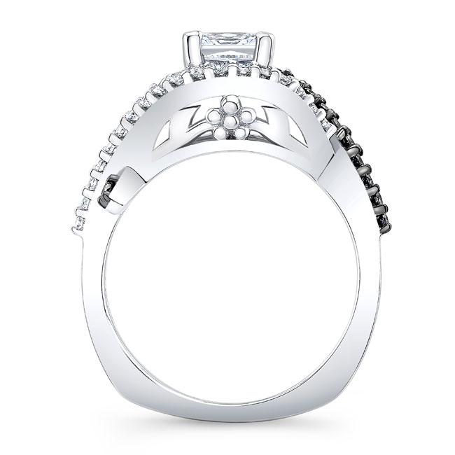 Black Diamond Princess Cut Moissanite Engagement Ring MOI-8081LBK Image 2