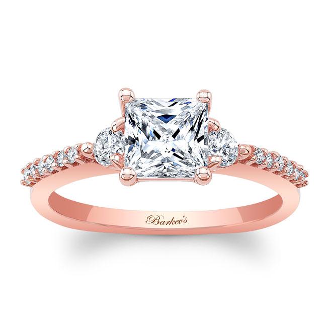 Moissanite 3 Stone Princess Cut Engagement Ring