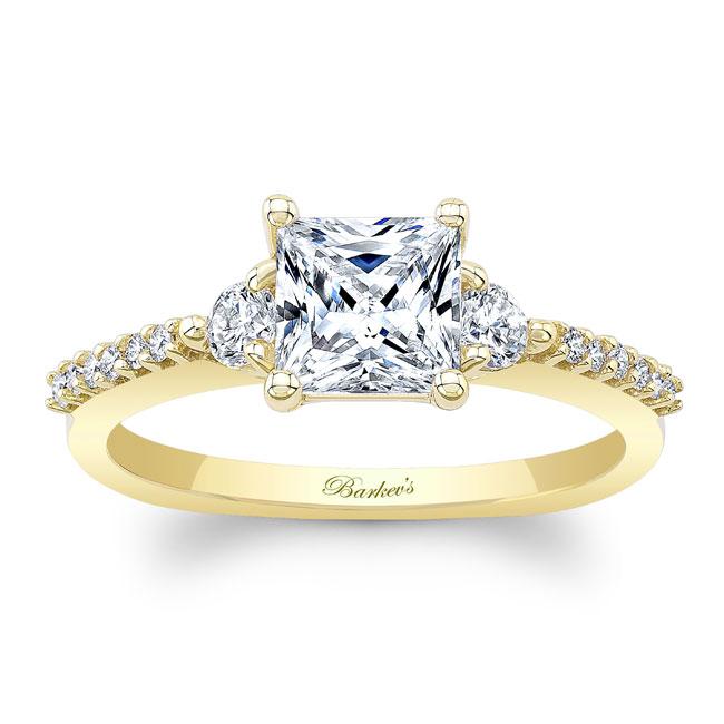 Moissanite 3 Stone Princess Cut Engagement Ring Image 1