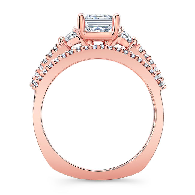 Moissanite 3 Stone Princess Cut Wedding Set Image 2