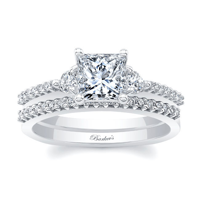 3 Stone Princess Cut Wedding Set