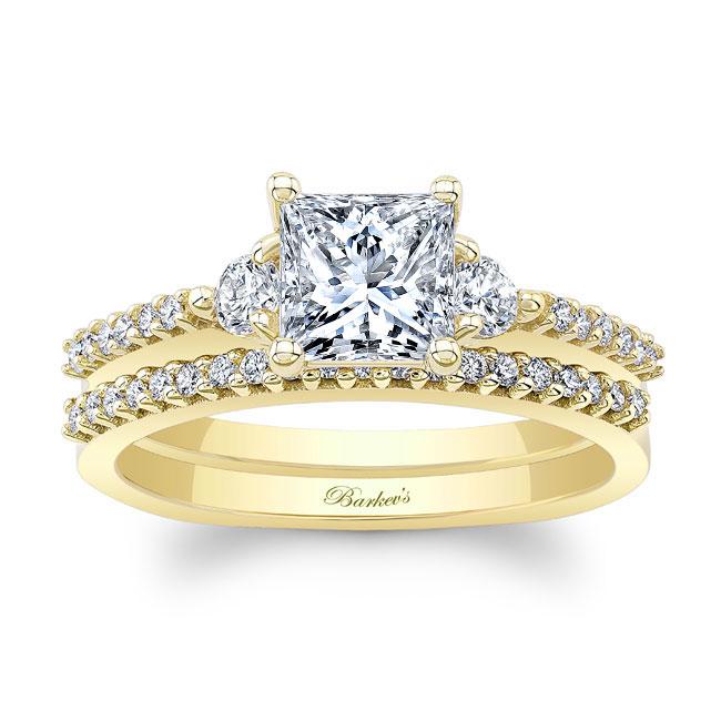 Moissanite 3 Stone Princess Cut Wedding Set Image 1