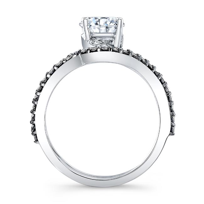Split Shank Moissanite And Black Diamond Bridal Set Image 2