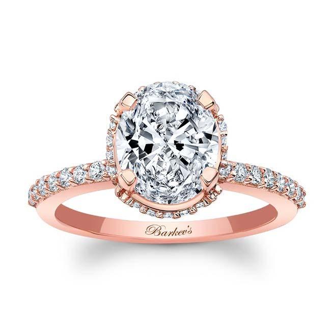 Hidden Halo Oval Moissanite Engagement Ring