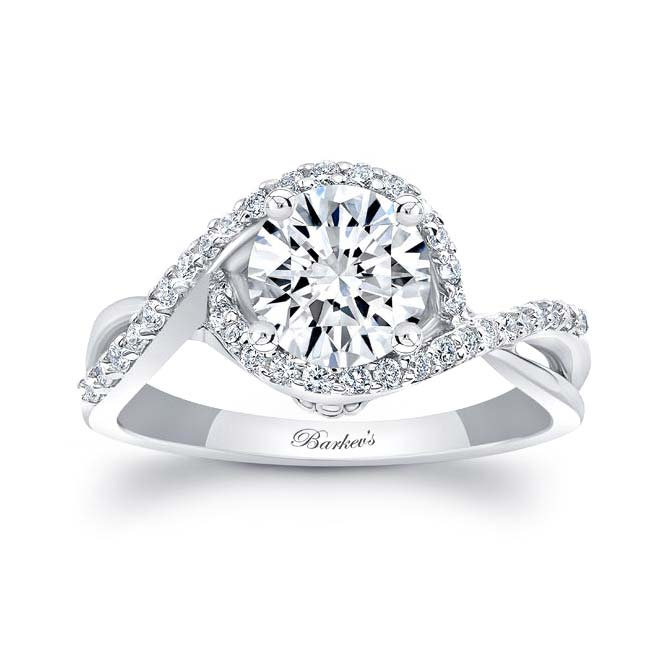 Twisted Halo Moissanite Engagement Ring