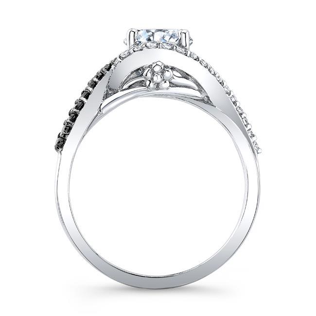 Twisted Halo Black Diamond Engagement Ring Image 2