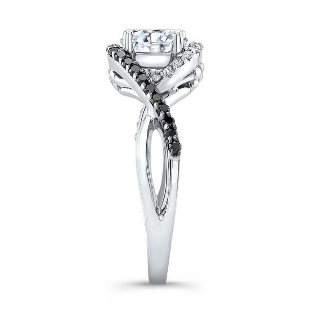 Twisted Halo Black Diamond Moissanite Ring Image 3