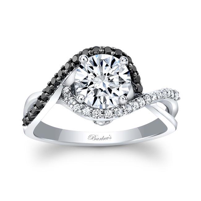 Twisted Halo Black Diamond Engagement Ring