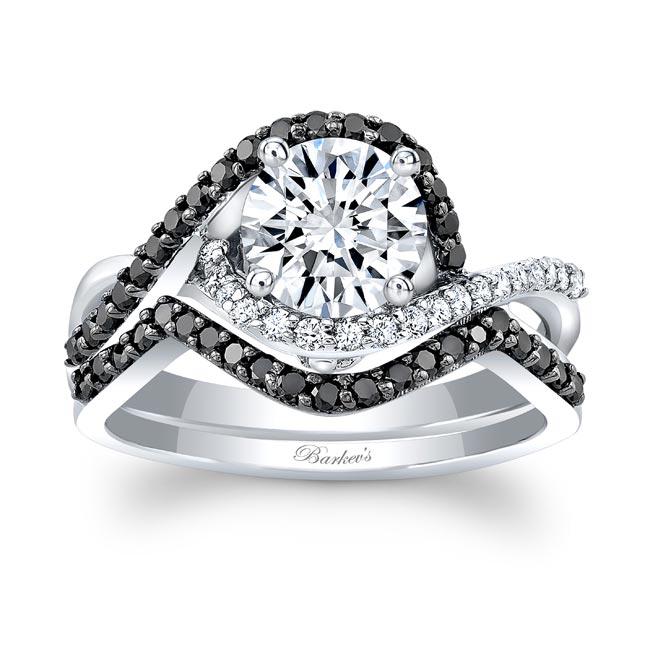 Twisted Halo Black Diamond Wedding Set Image 1
