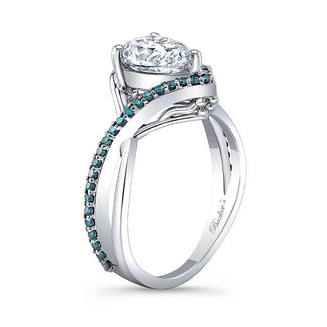 Unique Pear Shaped Moissanite Blue Diamond Accent Ring Image 2