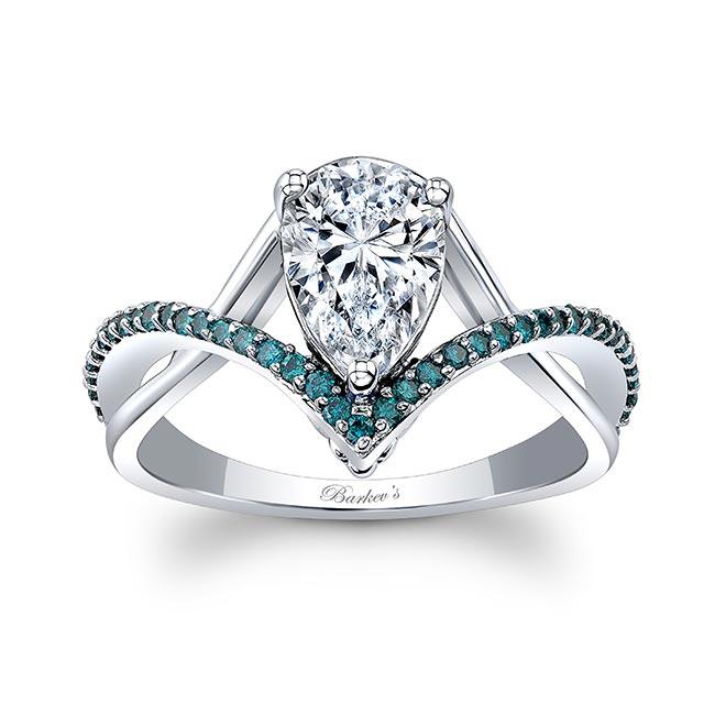 Unique Pear Shaped Moissanite Blue Diamond Accent Ring