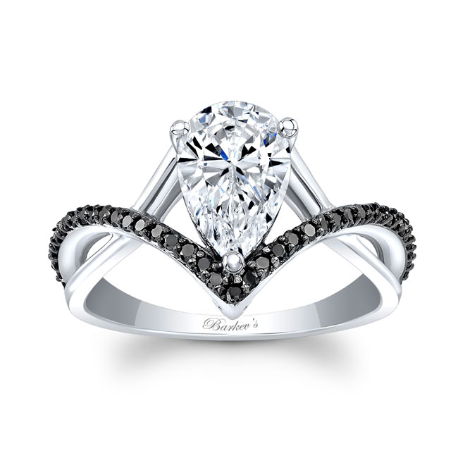Unique Pear Shaped Black Diamond Accent Ring Image 1