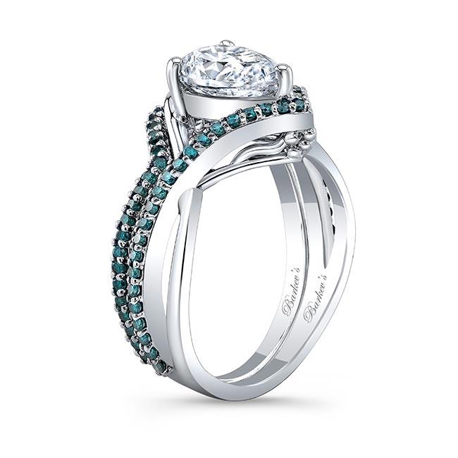 Unique Pear Shaped Blue Diamond Accent Wedding Set Image 2
