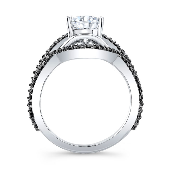 Unique Pear Shaped Black Diamond Moissanite Set Image 2