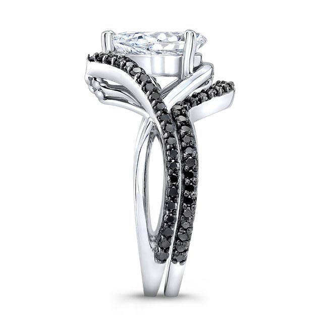 Unique Pear Shaped Black Diamond Moissanite Set Image 3