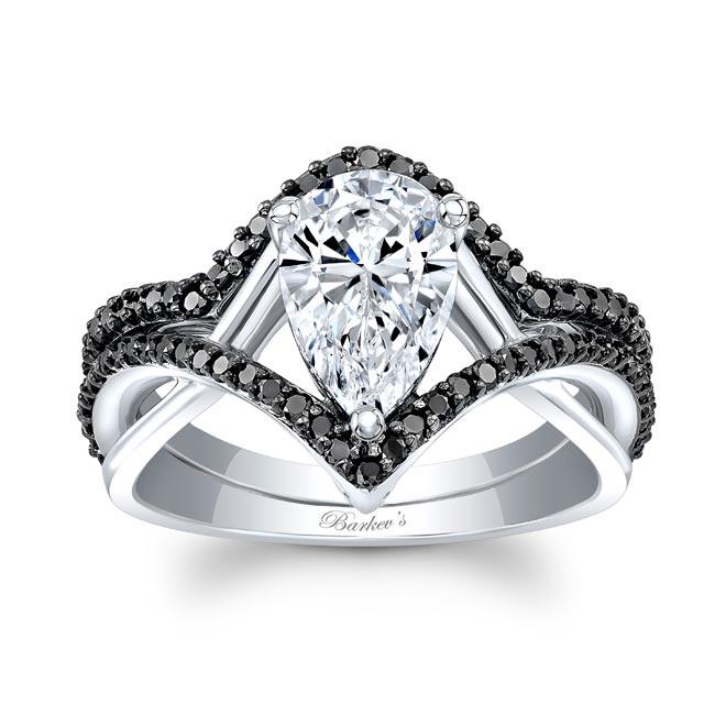 Unique Pear Shaped Black Diamond Wedding Set
