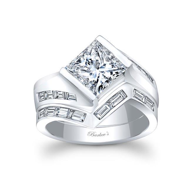 White Gold Princess Cut Bridal Set 8169S