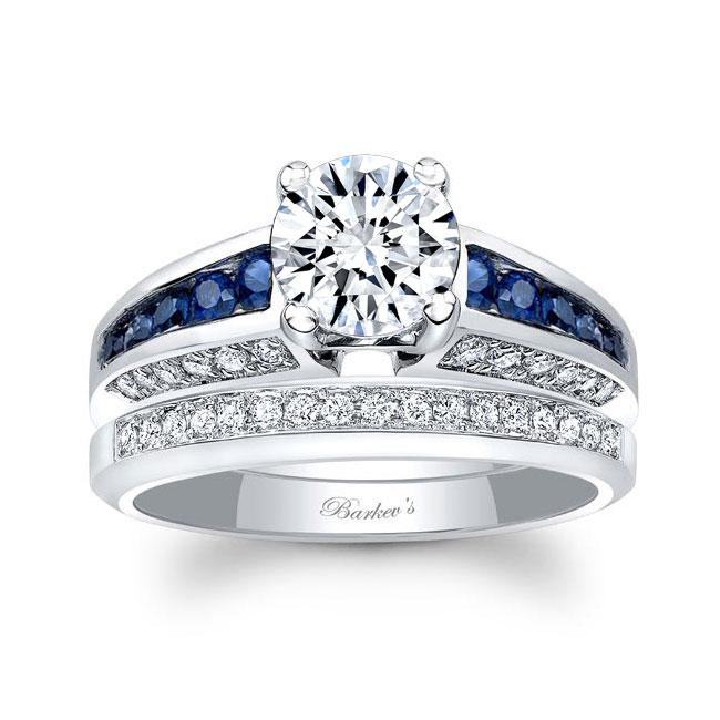 Channel Blue Sapphire Wedding Ring Set