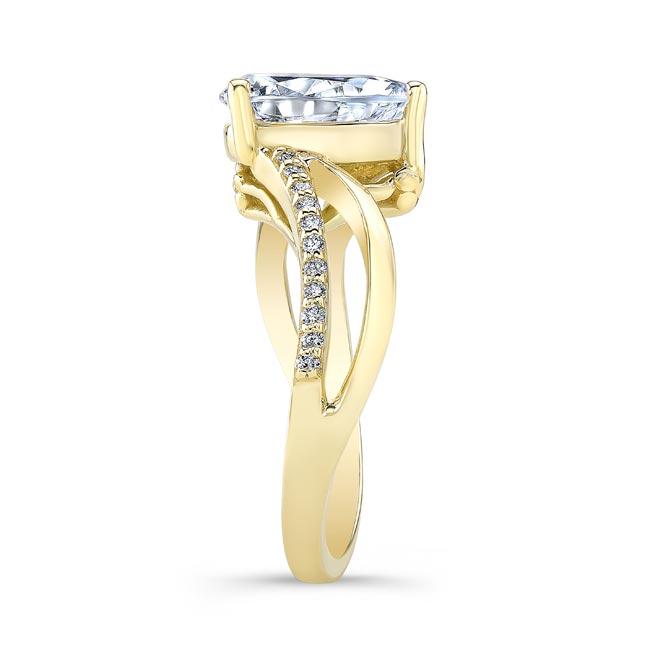Split Shank Pear Moissanite Ring Image 3