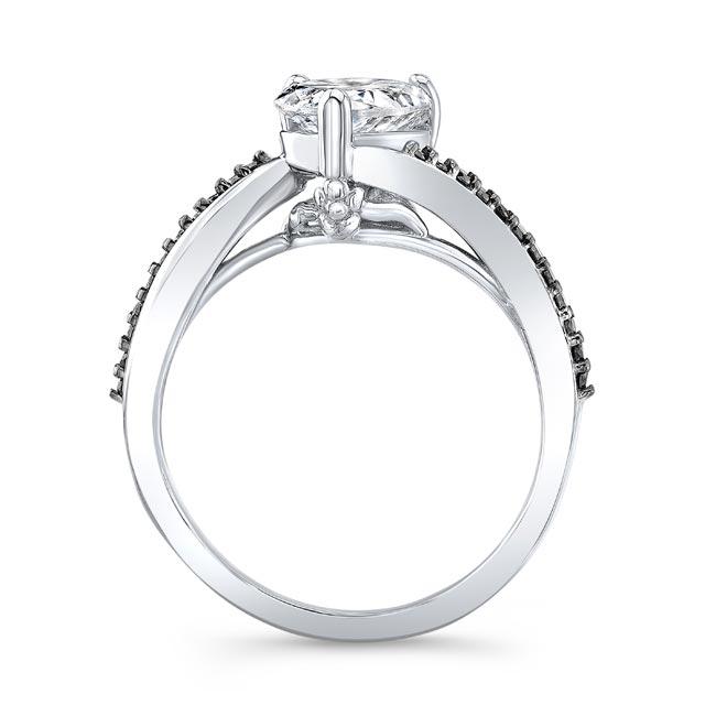 Split Shank Black Diamond Accent Pear Ring Image 2