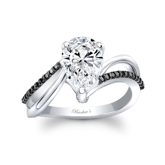 Split Shank Black Diamond Accent Pear Moissanite Ring