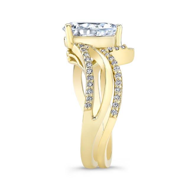 Split Shank Pear Moissanite Bridal Set Image 3