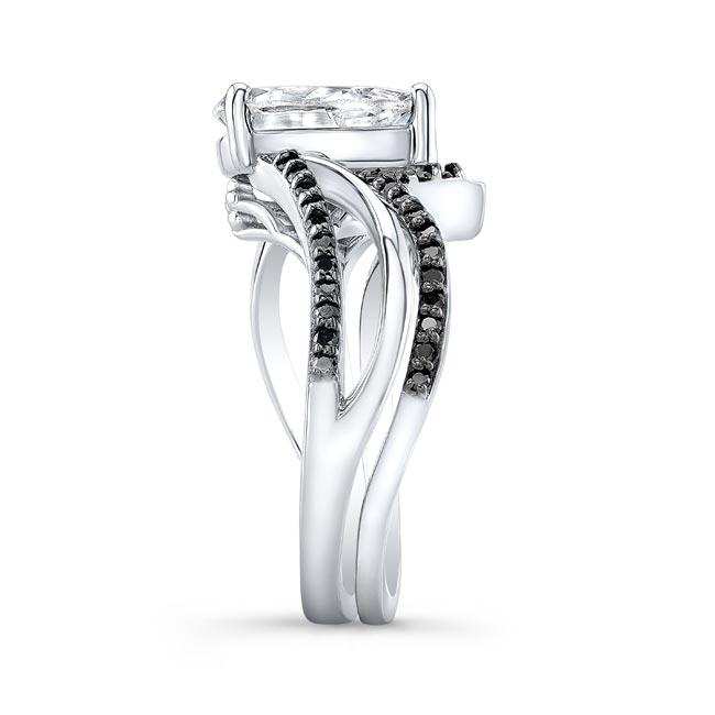 Black Diamond Split Shank Pear Bridal Set Image 3