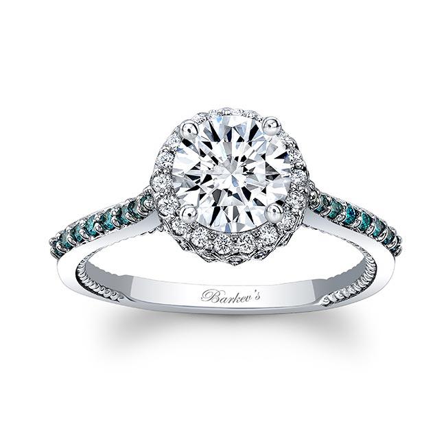 Round Halo Moissanite And Blue Diamond Ring