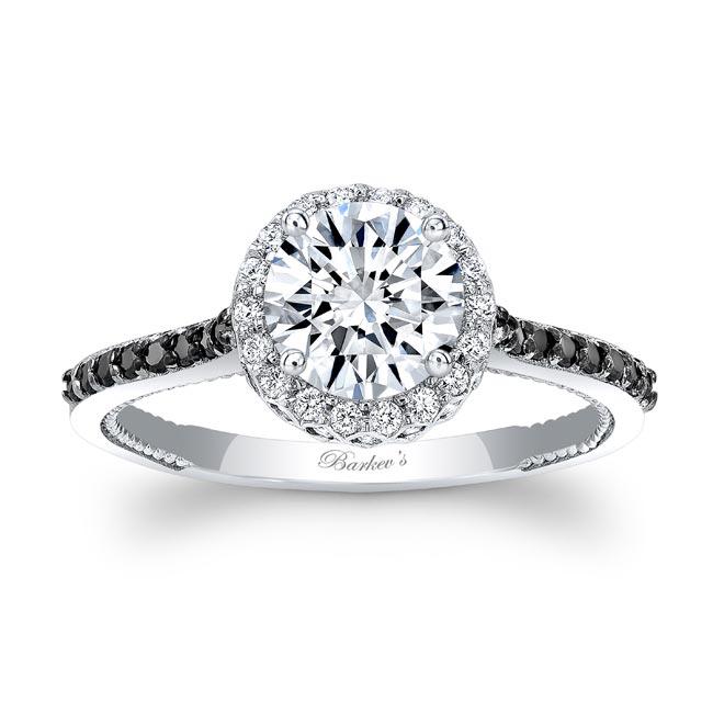 Round Halo Black And White Diamond Ring