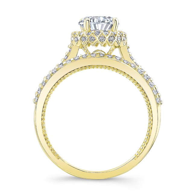 Round Halo Diamond Wedding Set Image 2