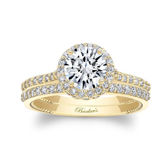 Round Halo Diamond Wedding Set Image 1
