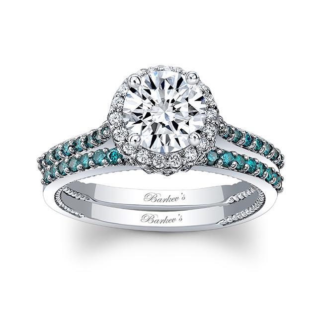 Round Halo Moissanite And Blue Diamond Wedding Set