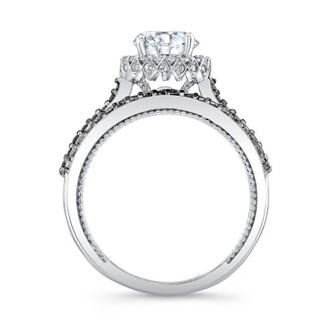 Round Halo Black And White Diamond Wedding Set Image 2