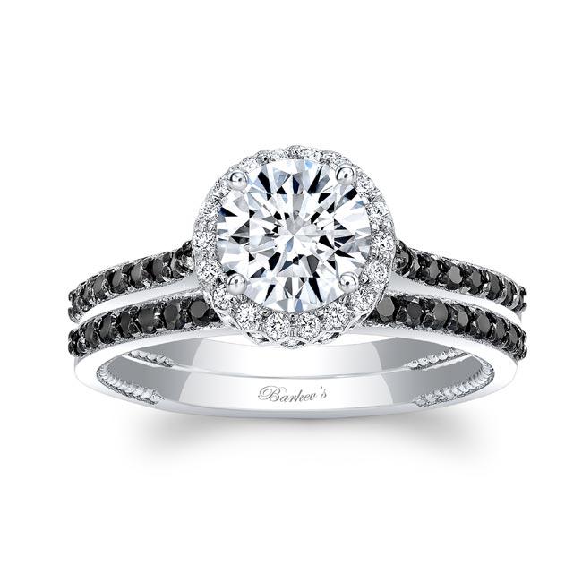 Round Halo Black And White Diamond Wedding Set
