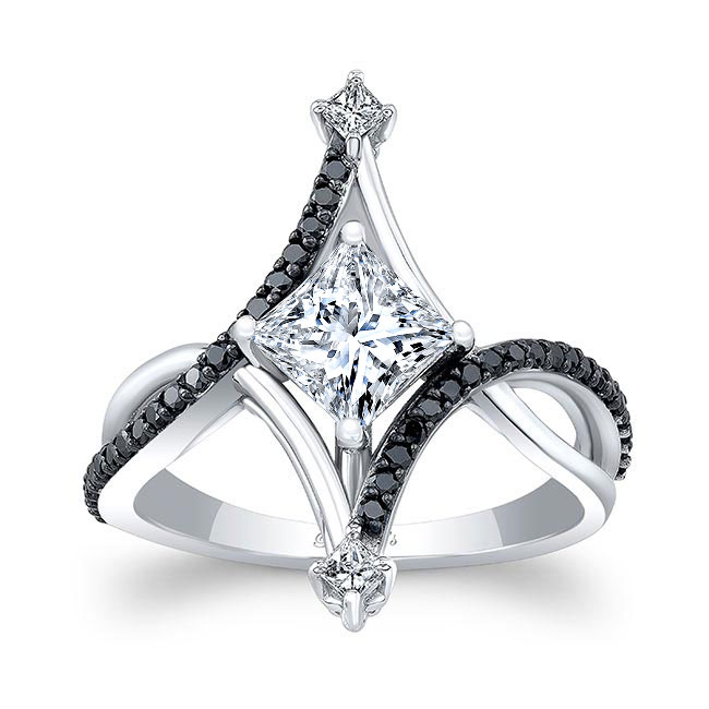 Unusual Black Diamond Moissanite Engagement Ring