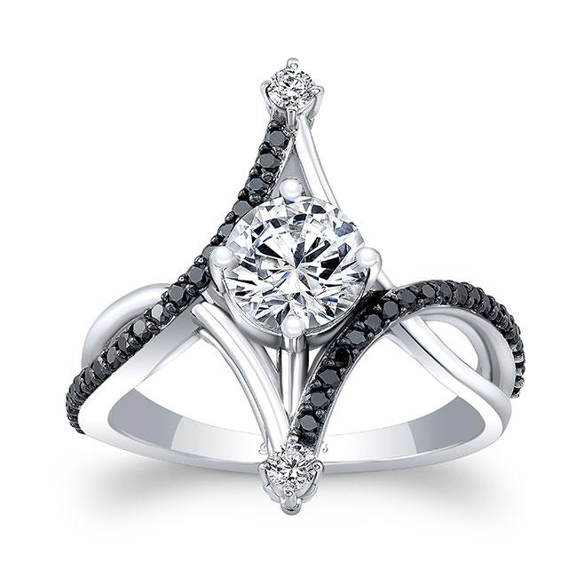 Unusual Round Moissanite Black Diamond Ring