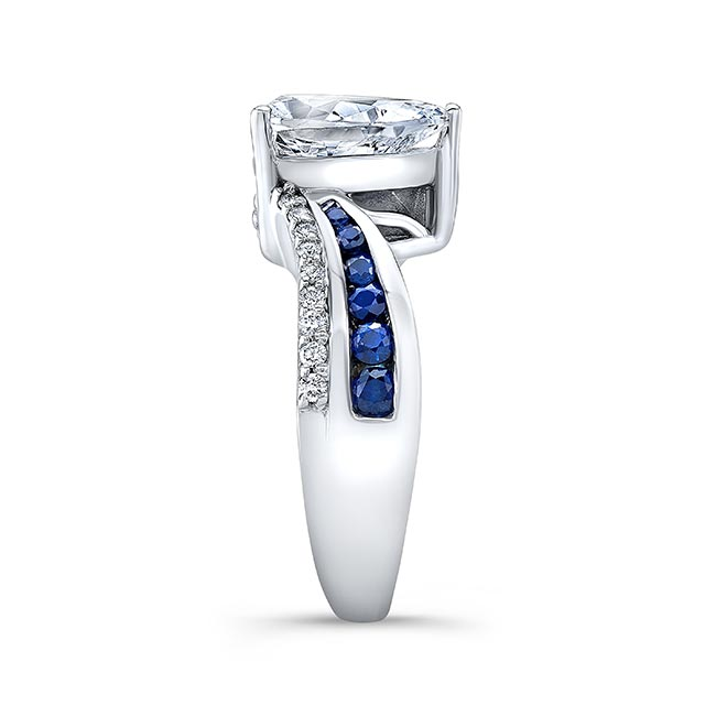 Pear Shape Blue Sapphire Ring 8219LBS Image 3