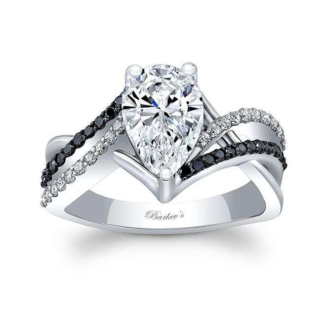 Black Diamond Teardrop Moissanite Ring