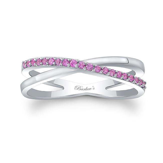 Overlap Pink Sapphire Promise Ring Image 1
