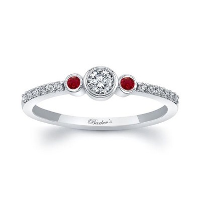 Mia Three Stone Ruby Diamond Promise Ring