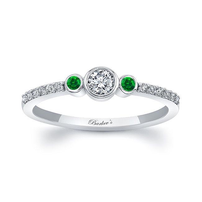 Mia Three Stone Emerald Diamond Promise Ring