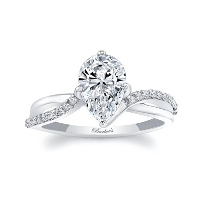 Pear Shaped Moissanite Twist Engagement Ring