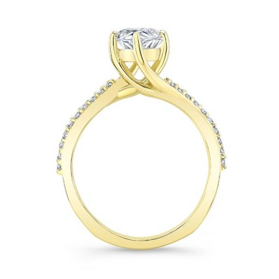 Pear Shaped Moissanite Twist Engagement Ring Image 2