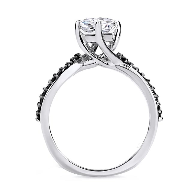 Pear Shaped Black Diamond Accent Ring With Twisted Band Image 2
