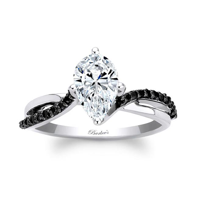 Pear Shaped Black Diamond Accent Ring With Twisted Band Image 1