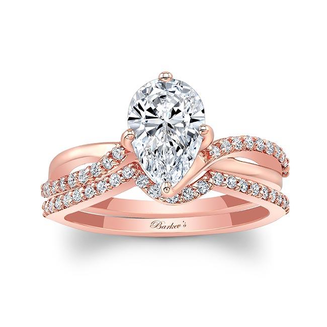 Pear Shaped Moissanite Twist Bridal Set Image 1