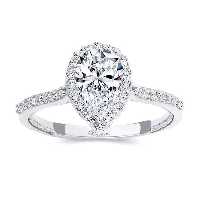 Eva Pear Shaped Halo Moissanite Ring