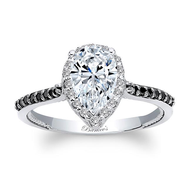 Eva Pear Shaped Moissanite Black Diamond Accent Halo Ring