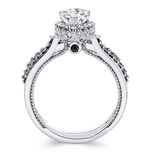 Eva Pear Shaped Black Diamond Accent Halo Ring Set Image 2